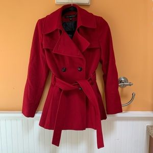 Stylish Red Pea Coat, pleated In the back